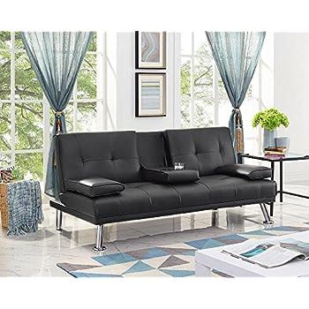 Amazon Com Naomi Home Futon Sofa Bed With Armrest Black