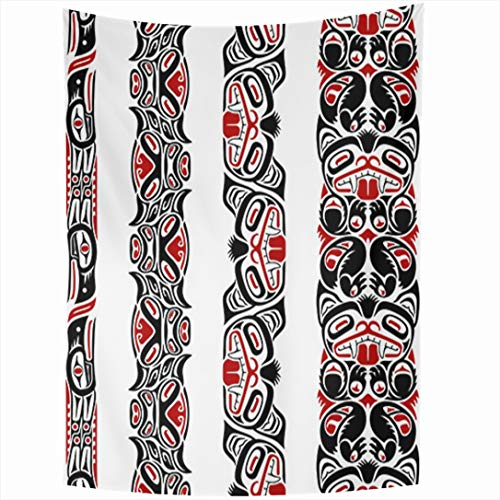 Ahawoso Tapestry 60x80 Inch Inuit Red Native Haida Pattern Created Totem American Pole Indian Tattoo Design Tapestries Wall Hanging Home Decor for Living Room Bedroom Dorm