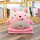 Gold Happy 1pc 45cm Kawaii Totoro Plush Pillow Stuffed Soft Down Cotton Plush Pillow Hand Warmer Blanket 3 in one s Gifts Girls Gifts
