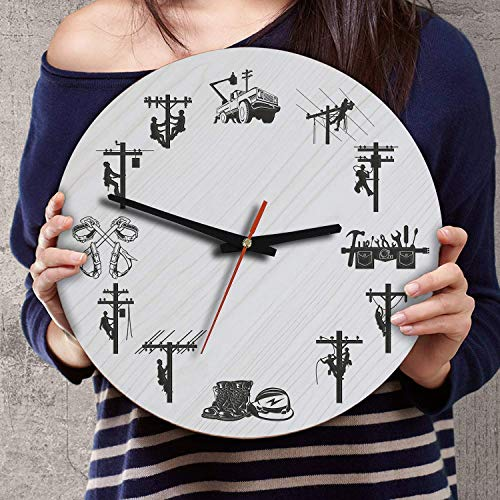 12 Inch Silent Battery Operated Power Electric Lineman Wood Wall Clocks Christmas Birthday Retirement Gifts for Dad Daddy Grandpa Papa Boyfriend Husband from Kids Wife Daughter Son Girlfriend Mom