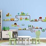 Amaonm Removable Cute Cartoon Kids room Wall Decal DIY Vinyl City Car Circled Curved Road Wall Stickers Decor for Children Babys Bedroom Studyroom Playroom Nursery room School (A+B)
