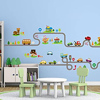 Amaonm Removable Cute Cartoon Kids Room Wall Decal DIY Vinyl City Car  Circled Curved Road Wall Nice Look