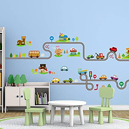 Amaonm Removable Cute Cartoon Kids Room Wall Decal DIY Vinyl City Car  Circled Curved Road Wall