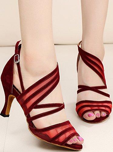 Latin toe Party Dance CFP 7036 Sexy JJ Peep Dance Tango wedding Womens Cloth Red Ballroom shoes SUxwngUI