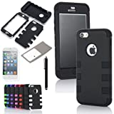 ATC Masione(TM) 3-Piece Hybrid High Impact Resistance Case Rubberized Silicone Cover For Apple iPhone 5C with Screen Protector & Stylus (Black+Black)