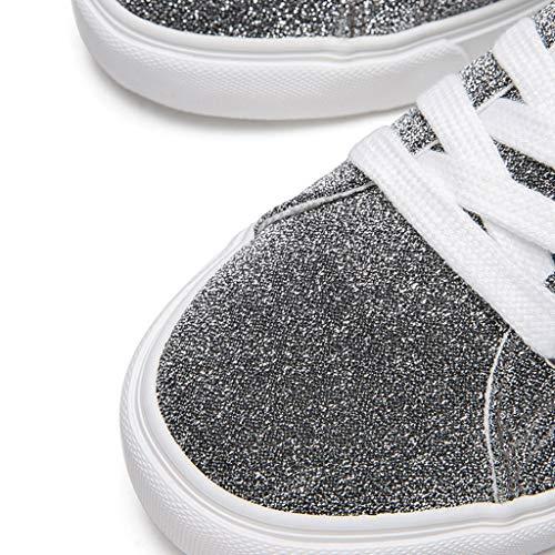 Plano de Deportivos Botines con sat SHI la de Boca Skate de Plata en Zapatos de Mujer Cordones Fondo Planos Zapatos de YUp4Iwp