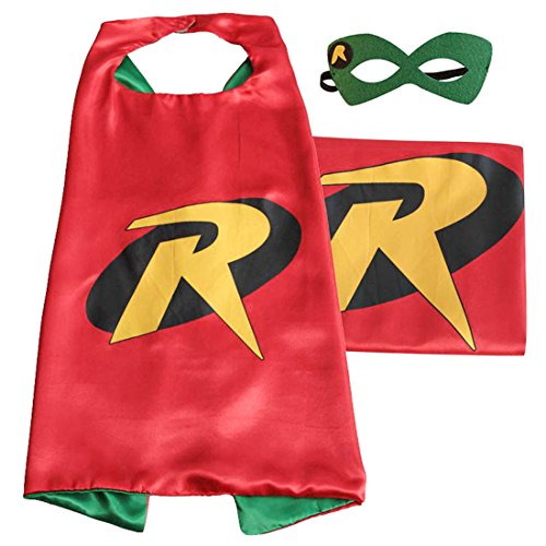 [(Robin) ROXX Cape and Mask Costume for Child Superhero Superman Kids Girl and Boy] (Kids Batman And Robin Costumes)
