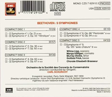 Beethoven, Schuricht - Symphonies 1-9 - Amazon com Music