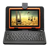 2014 NEW iRulu 7 inch Android Tablet PC, 4.2 Jelly Bean OS, Dual Core, Allwinner A23 CPU, Dual Cameras, 5 Point Capacitive Touch Screen, 16GB Storage,Orange TabletandBlack Keyboard Case, Best Gadgets