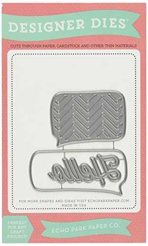 Echo Park Paper Company EPPDie1 Thought Bubbles and Hello Dies for Scrapbooking - Phrase Scrapbook Die Cut