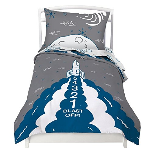 Twin Rocket Reversible Duvet Cover Set with 1 Pillowcase for Kids Bedding - Double Brushed Microfiber by Where The Polka Dots Roam (68
