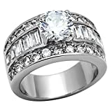 stainless steel ring cz - Stainless Steel White Round Cut Cubic Zirconia Wide Engagement Ring Women size 8 SPJ