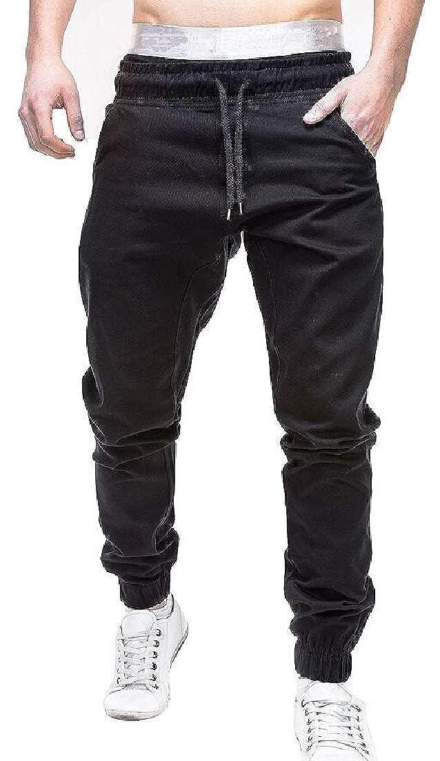 CRYYU Men Plus Size Sport Running Casual Elastic Waist Solid Jogger Pants