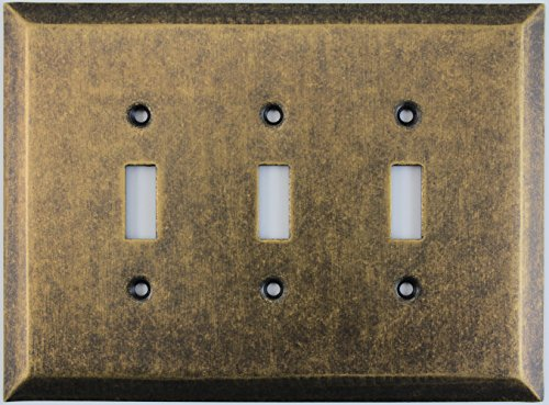 Jumbo Stamped Aged Antique Brass Three Gang Toggle Light Switch Wall Plate