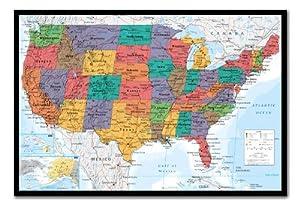 Amazoncom USA United States Map Wall Chart Poster Cork Pin Memo - Us map of states cork poster