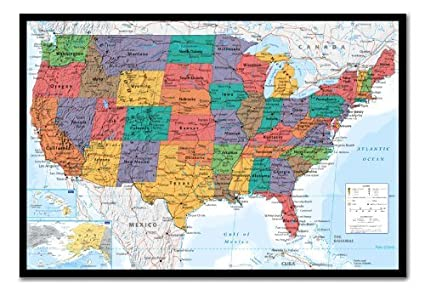 Amazon usa united states map wall chart poster cork pin memo usa united states map wall chart poster cork pin memo board black framed 965 x gumiabroncs