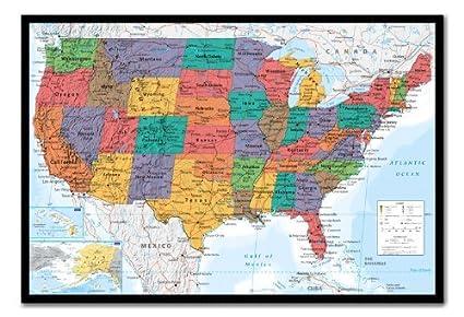 amazon com usa united states map wall chart poster cork pin memo