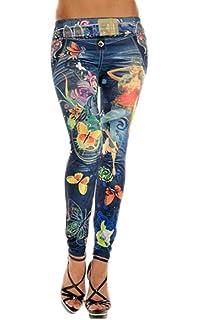8b4673e99a96b YiyiLai Legging Amincissant Femme Pantalon Jean Imitation Collant Fantaisie  Motif Papillon