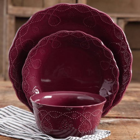The Pioneer Woman Cowgirl Lace 12-Piece Dinnerware Set - Plum (Shabby Chic Dishes)