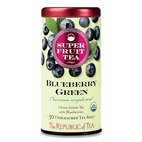 Ginseng Plus Green Tea - The Republic Of Tea Organic Blueberry Green Superfruit Tea, 50 Tea Bag Tin