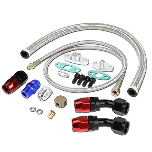 Line Supply Oil - DNA Motoring OFL-KIT-008-SL Universal Turbo Charger Oil Drain/Feed Line Complete Kit
