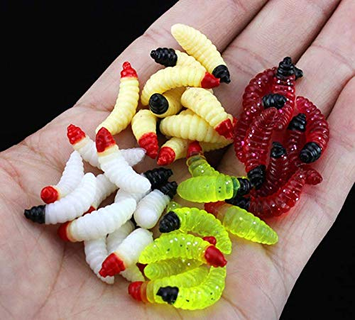 Milepet 50Pcs 1InchSilicone Soft Maggot Worm Soft Artificial Bread Worm Fishing Lure