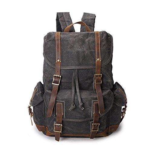 Yuzihan Water Resistant Leather Canvas Backpack School Bag V