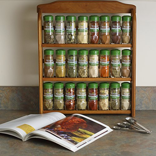 McCormick Gourmet Organic Wood Spice Rack (with Spices Included), 3 Spice Rack Shelves, 24 Herbs & Spices by McCormick (Image #2)