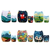 AlVABABY New Positioning and Printed Design Reuseable Washable Pocket Cloth Diaper 6 Nappies + 12 Inserts 6DM41-CA