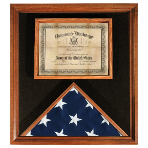 Flag & Document Case - US Made - Cherry Finish - for 3ft x 5ft Flags - Flag Certificate Display Case