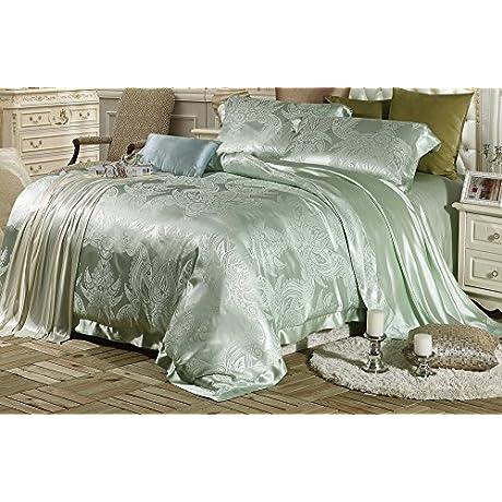 Lilysilk 7502 04 Ustw 4pcs Silk Bedding Sheets Set Jacquard 19 Momme Twin