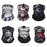 MoKo Halloween Face Mask [6 Pack], UV Protection Seamless Neck Gaiter Shield Scarf Headbands Headwrap Headwear