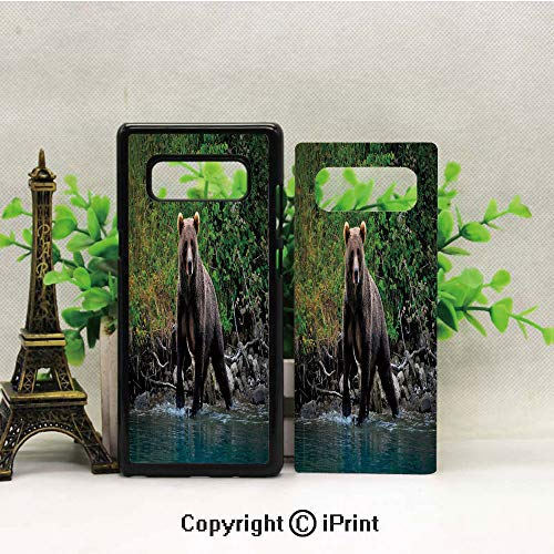 Case for Galaxy note8,Grizzly Brown Bear in Lake Alaska Untouched Forest Jungle Wildlife Image Decorative Shockproof Series TPU Bumper Protective Case for Samsung Galaxy note8, 2017 Release Print Des