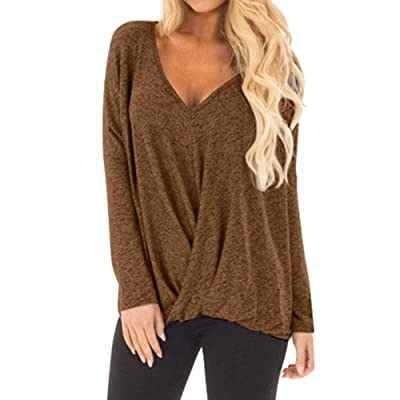 Women's Casual Loose Plus Size V-Neck Long Sleeve T-Shirt Solid Color Hem Irregular Blouse Tops at Women's Clothing store
