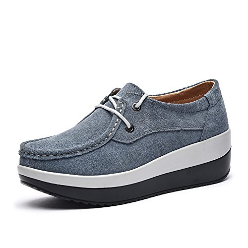 Enllerviid Dames Platform Loafers Comfort Suéde Mocassins Slip Op Fashion Sneakers Schoenen 525 Grijs