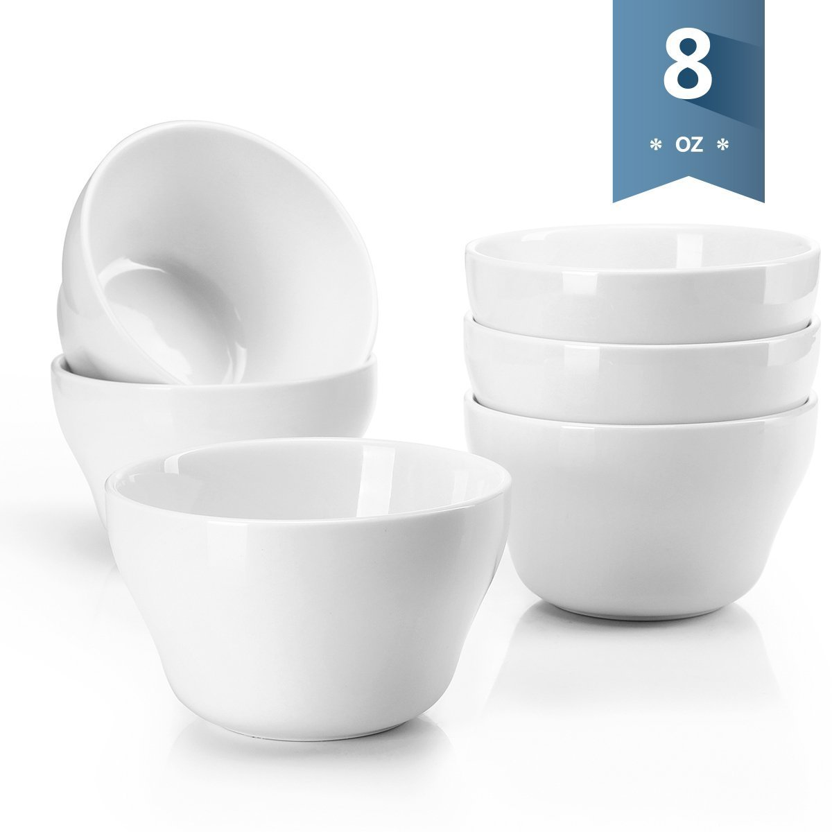 Sweese 1301 Porcelain Bouillon Cups - 8 Ounce Dessert Bowls for Cottage Cheese, Fruit, Crackers, Salsa, Little Size Dishes - Set of 6, White