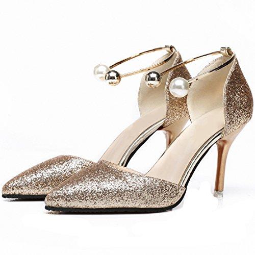 Aiyoumei Womens Glitter Scarpe A Punta Tacco Alto A Spillo Con Perle E Tacchi 10cm Oro