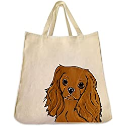 Ruby Coat Cavalier King Charles Dog Portrait Color Design Extra Large Eco Friendly Reusable Cotton Twill Grocery Shopping Tote Bag