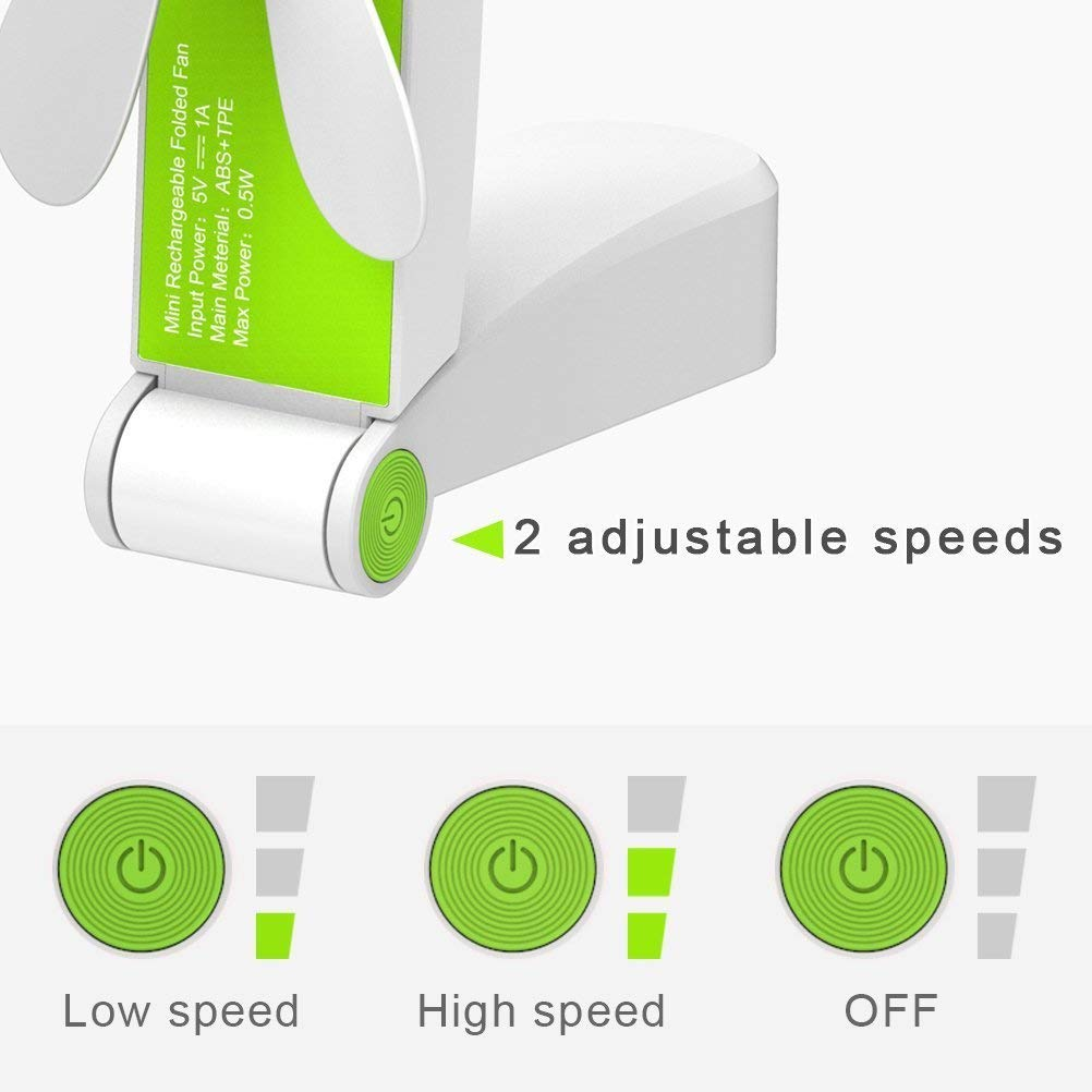 Flysea Mini Handheld Fan, Small Personal Portable Pocket Fan Adjustable Micro USB Rechargeable Fan for Camping Purse Travel Office Outdoor Household Hiking Picnic, 2 Modes Strong Wind Green