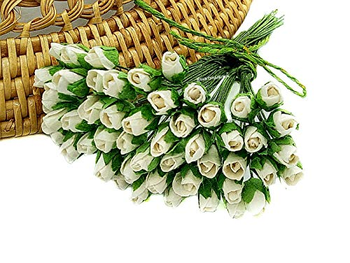 NAVA CHIANGMAI Mini Rose Bud Mulberry Flower Paper, Wedding Flowers, Wedding Decoration Artificial Flowers Crafts,Mulberry Flowers, Paper Rose Buds, DIY Bouquet, Scrapbooking Flowers (White)