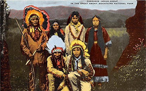 Cherokee Indian Group Great Smoky Mountains National Park Indian Postcard