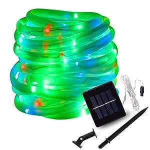 LTE Solar RGB Rope Lights, 100 LED, 33ft String Lights 8 Lighting Modes, Outdoor Waterproof Solar Strip Light Halloween Christmas,Gardens,Lawn,Patio,Weddings,Parties