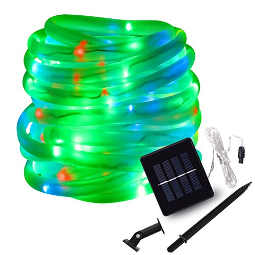 LED String Lights Solar RGB 100 LED Rope, Outdoor Waterproof, 33ft, 8 Lighting Modes, Ideal for Decoration,Thanksgiving, Garden, Lawn, Patio, Party (RGB)]()