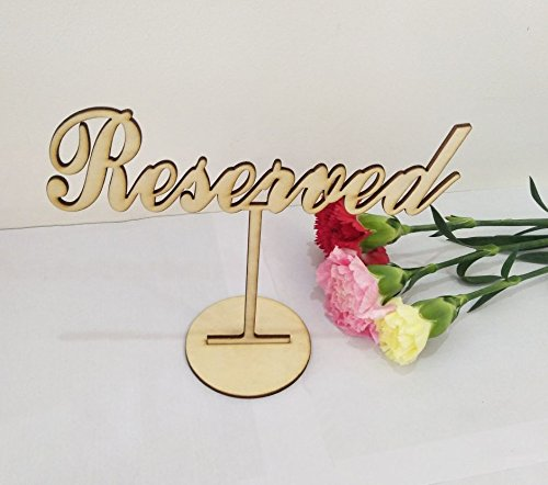 RUIXUAN Set of 3 Acrylic Reserved Table Sign,Reserved Seating, Reserved Sign Weddings Freestanding Acrylic Reserved Gold Wedding Sign Reception (Wood Color, 5'' x7) by RUIXUAN (Image #3)