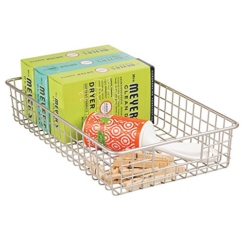 mDesign Wire Laundry Storage Basket for Detergent Powder, Dryer Sheets, Lint Rollers - Wide, Satin