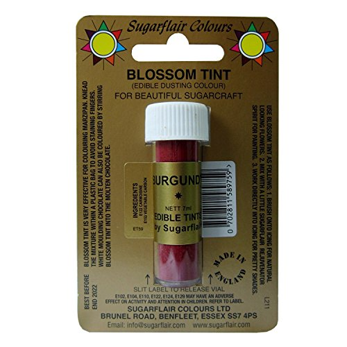 Sugarcraft Sugarflair Colour Blossom Tint Powder Dust Burgundy 7ml