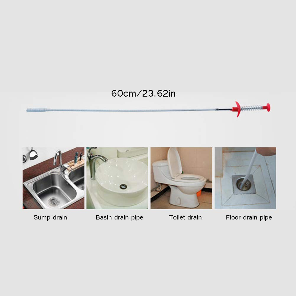 Tubo flexible para desag/ües de presi/ón de mano con pinza para desag/üe y desag/üe de resorte herramienta de dragado para limpiar el cabello TAIPPAN