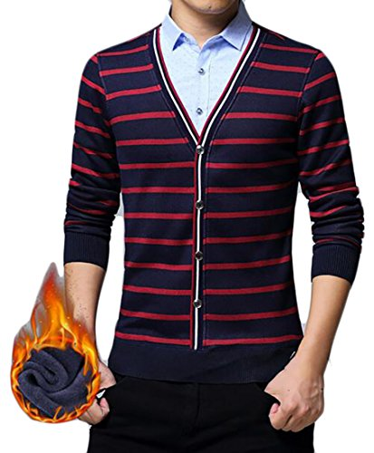 Sleeve Fake Fleece today Casual Sweater Mens Pullover Piece Two Lined UK 3 Long xpq4Yqr0n