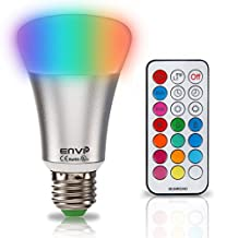 EnviPlus-LED RGBW LED Bulb RGBWW with Remote Control 2-in-1 10 Watts Color Changing LED Bulb One Button Warm White Color Changing Light Bulb with IR Remote Control,RGB+W Dimmable E26 RGB Light Bulbs