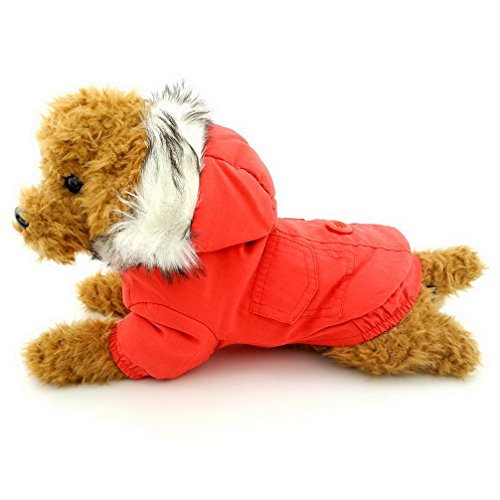 Ranphy Small Dog Cat Winter Coat Hoodies Thick Cotton-Padded Cold Weather Dog Jacket Scarf Bear Patch Chihuahua Clothes Windproof Red L